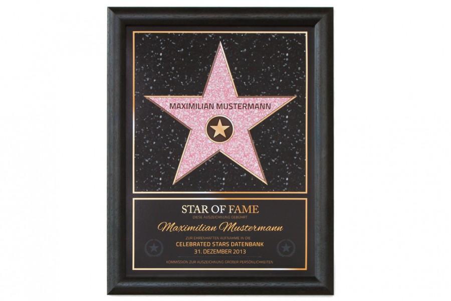 Star of Fame Stern Urkunde » Personalisiertes Bild Geschenk!