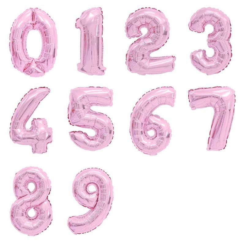 Folienballons Zahlen Heliumballons Rose