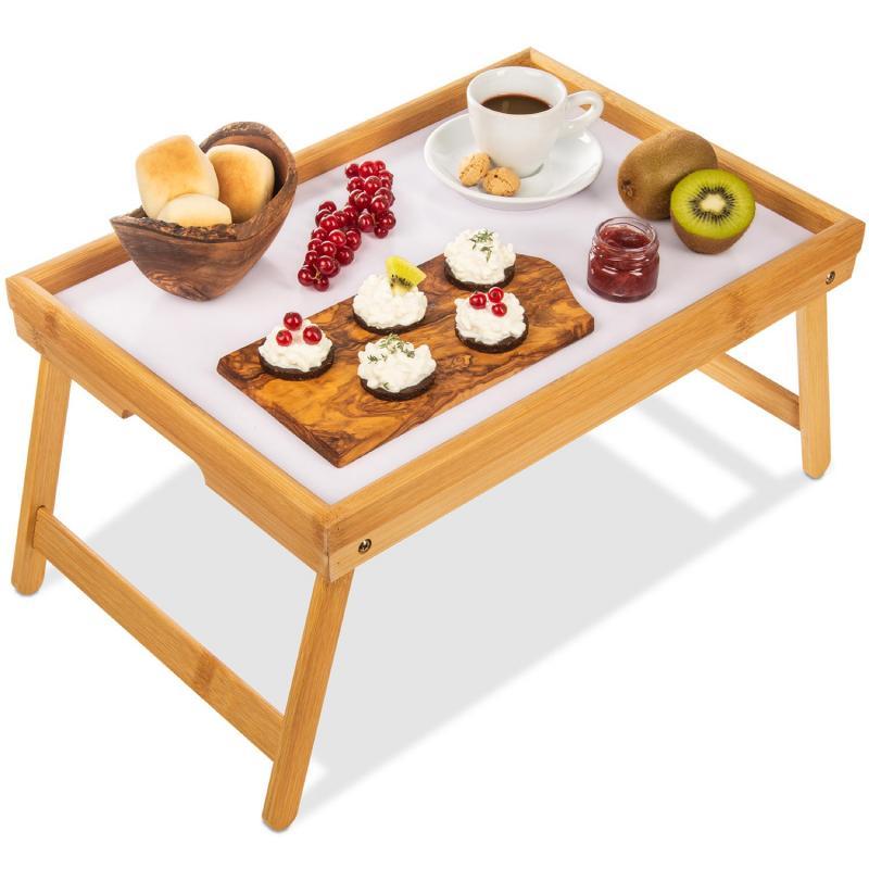 Klappbares Serviertablett - Frühstückstablett zum Klappen aus Bambus