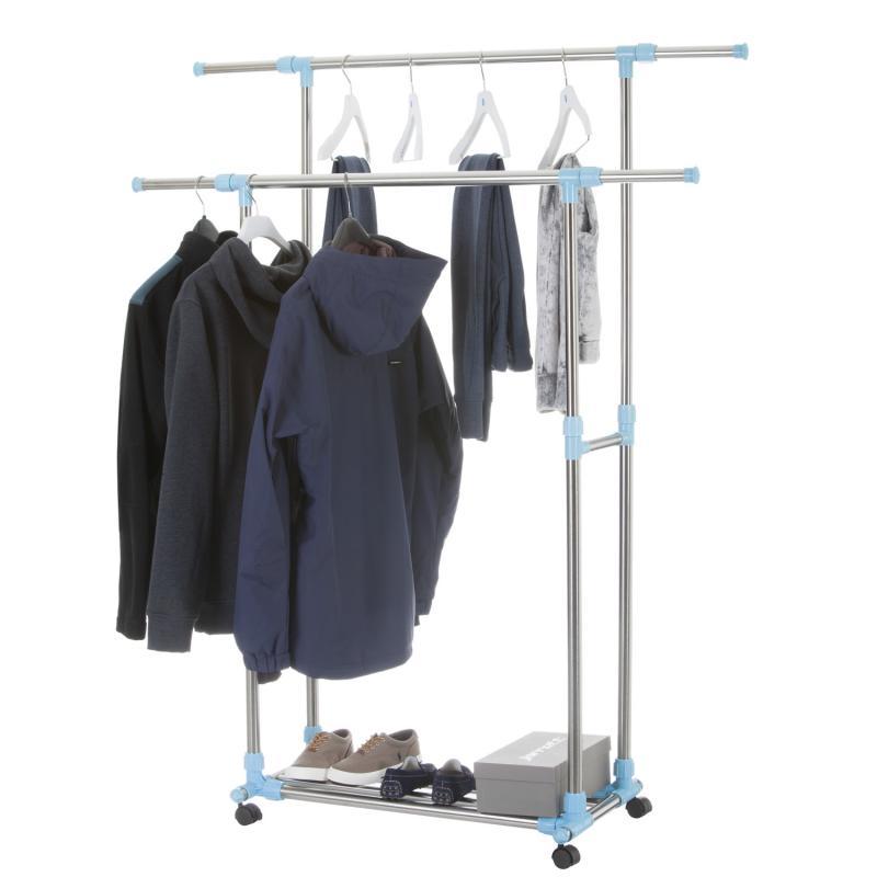 Rollbarer Kleiderständer aus Edelstahl