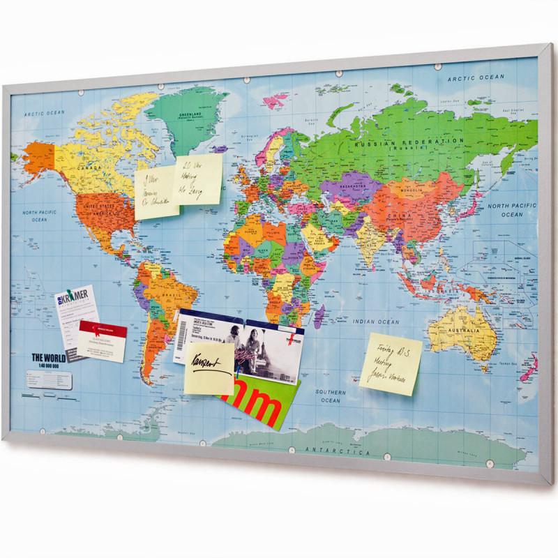 XXL Pinnwand mit Weltkarte