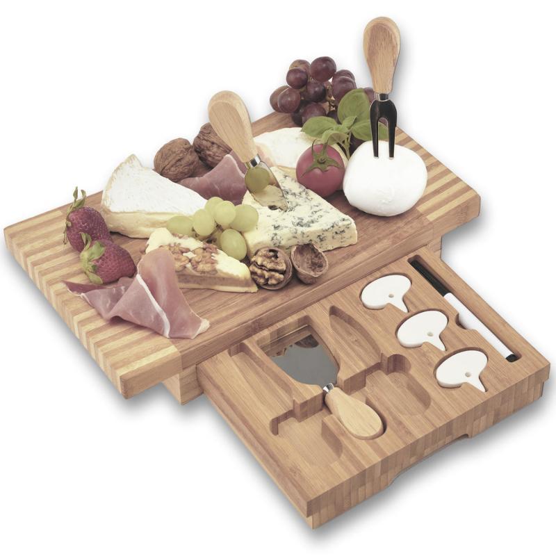 Bambus Käseplatte mit Messer & Besteck