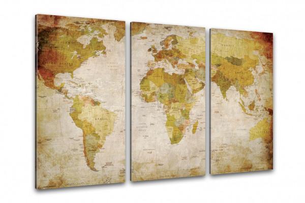 Antike Weltkarte Kunstdruck auf Leinwand und Keilrahmen