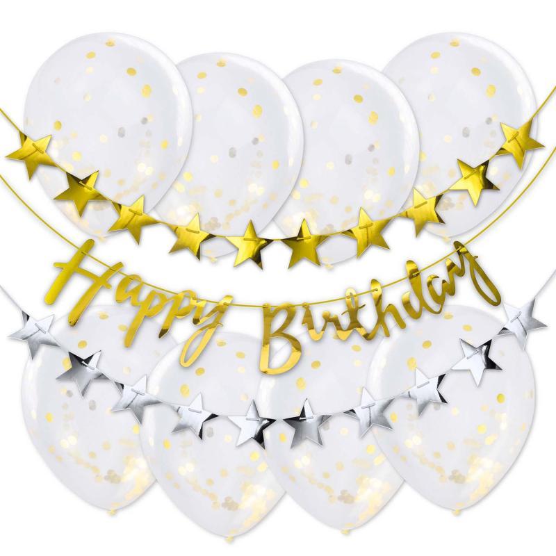 Happy Birthday Set Luftballons Girlanden Geburtstagsdekoration