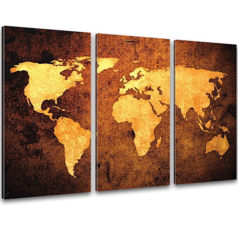 Retro Weltkarte Auf Leinwand 120x80cm