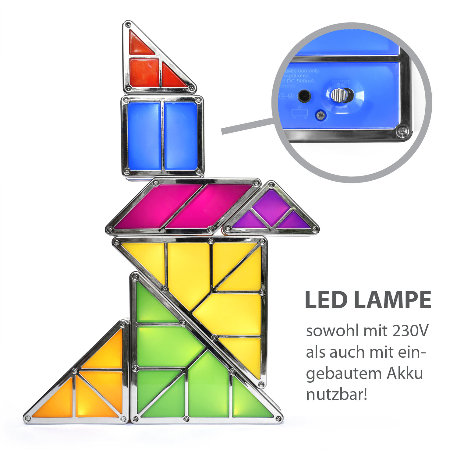 tangram licht led light mit bausteinen und akku. Black Bedroom Furniture Sets. Home Design Ideas