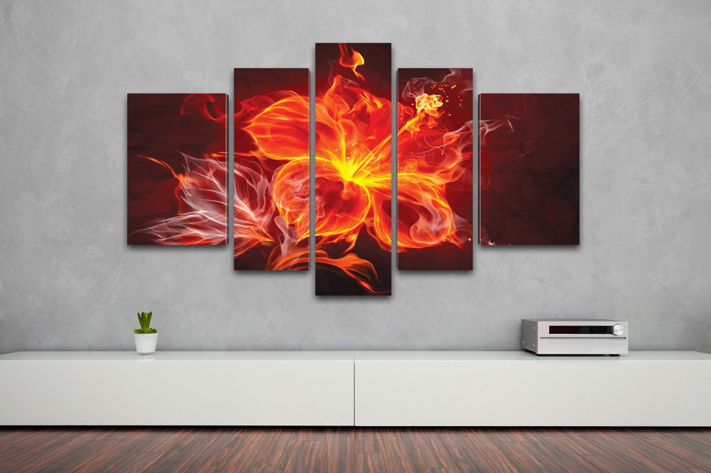 kreativer kunstdruck fire flower 170x100cm auf leinwand. Black Bedroom Furniture Sets. Home Design Ideas