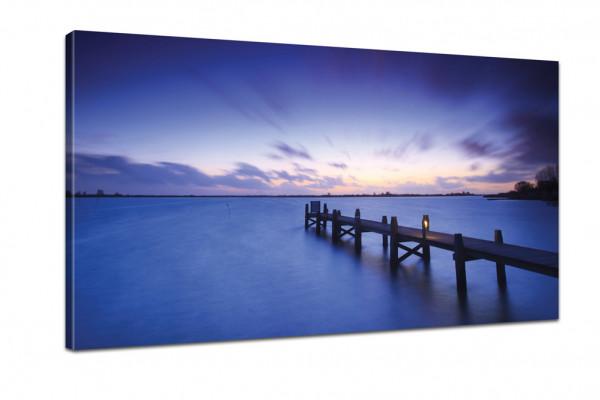See Kunstdruck: Veträumte Seenlandschaft in der Dämmerung 100x50cm
