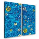 Kunstdruck -  2-teilige Leinwand - van Goghs Sternennacht