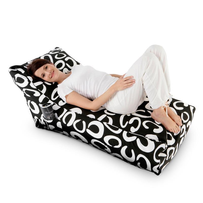 Sitzsack Lounge Daybed schwarz-weiss