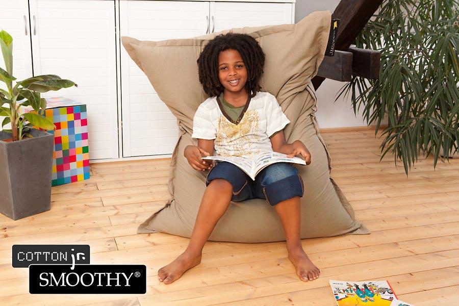 smoothy cotton jr kinder sitzsack aus baumwolle in braun. Black Bedroom Furniture Sets. Home Design Ideas
