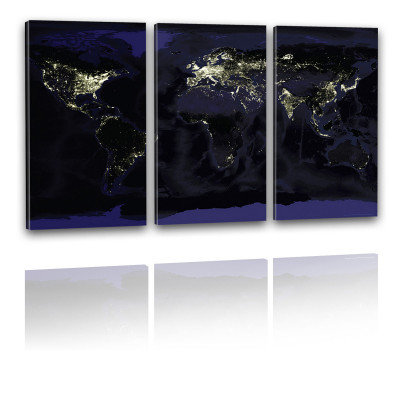 Kunstdruck - 3-teilige Leinwand - Weltkarte bei Nacht