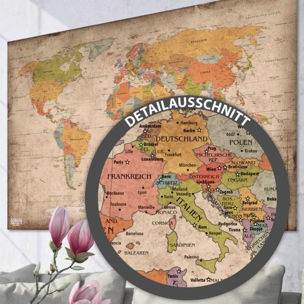 Antike Weltkarte Poster mit Fahnen im XXL Format (140x100cm)