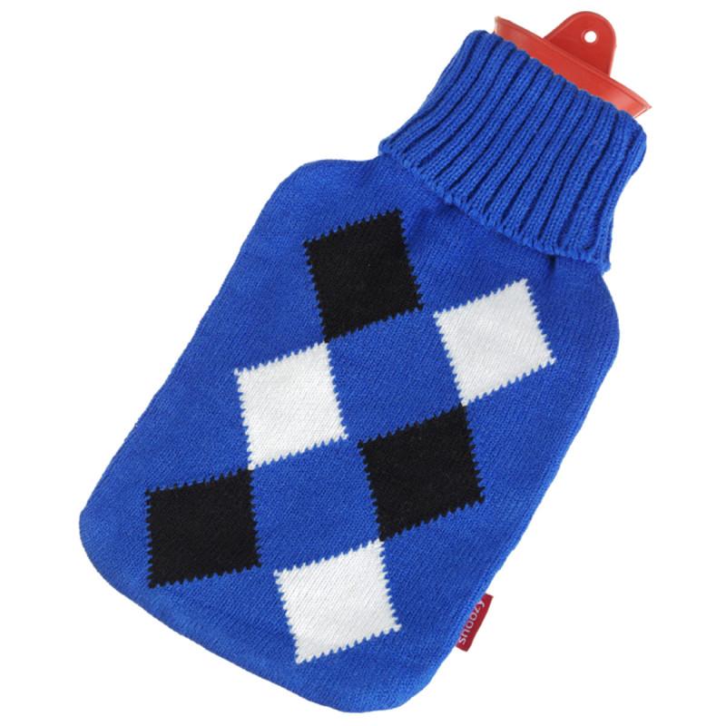 Wärmflasche mit blauem Karomuster