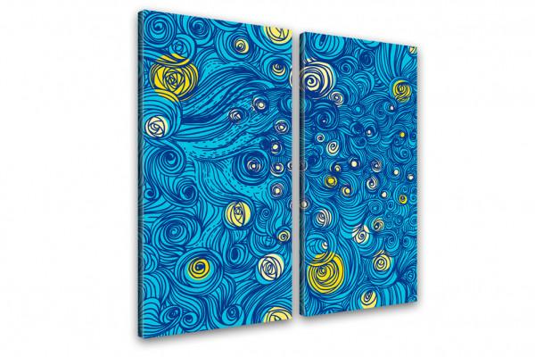 Kunstdruck Sternennacht - Grafik Hommage van Gogh 100x100cm