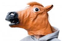 Pferdemaske - Pferde Maske aus Latex - Pferdekopf mit Haaren
