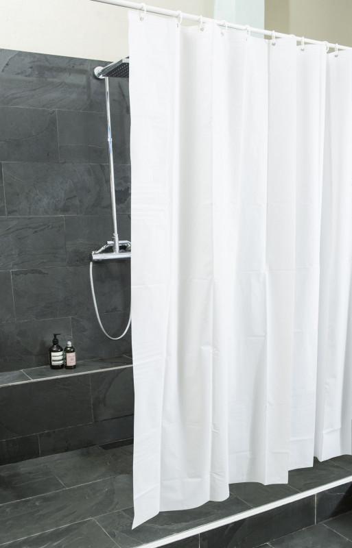 Weißer Duschvorhang aus PEVA