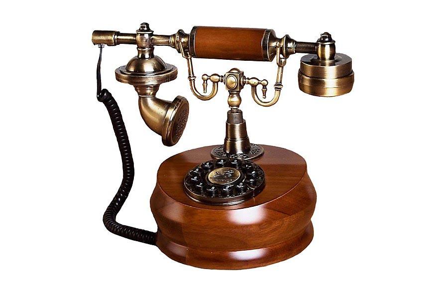 nostalgie telefon im antik retro look aus holz. Black Bedroom Furniture Sets. Home Design Ideas