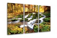 Kunstdruck -  3-teilige Leinwand - Wasserfall